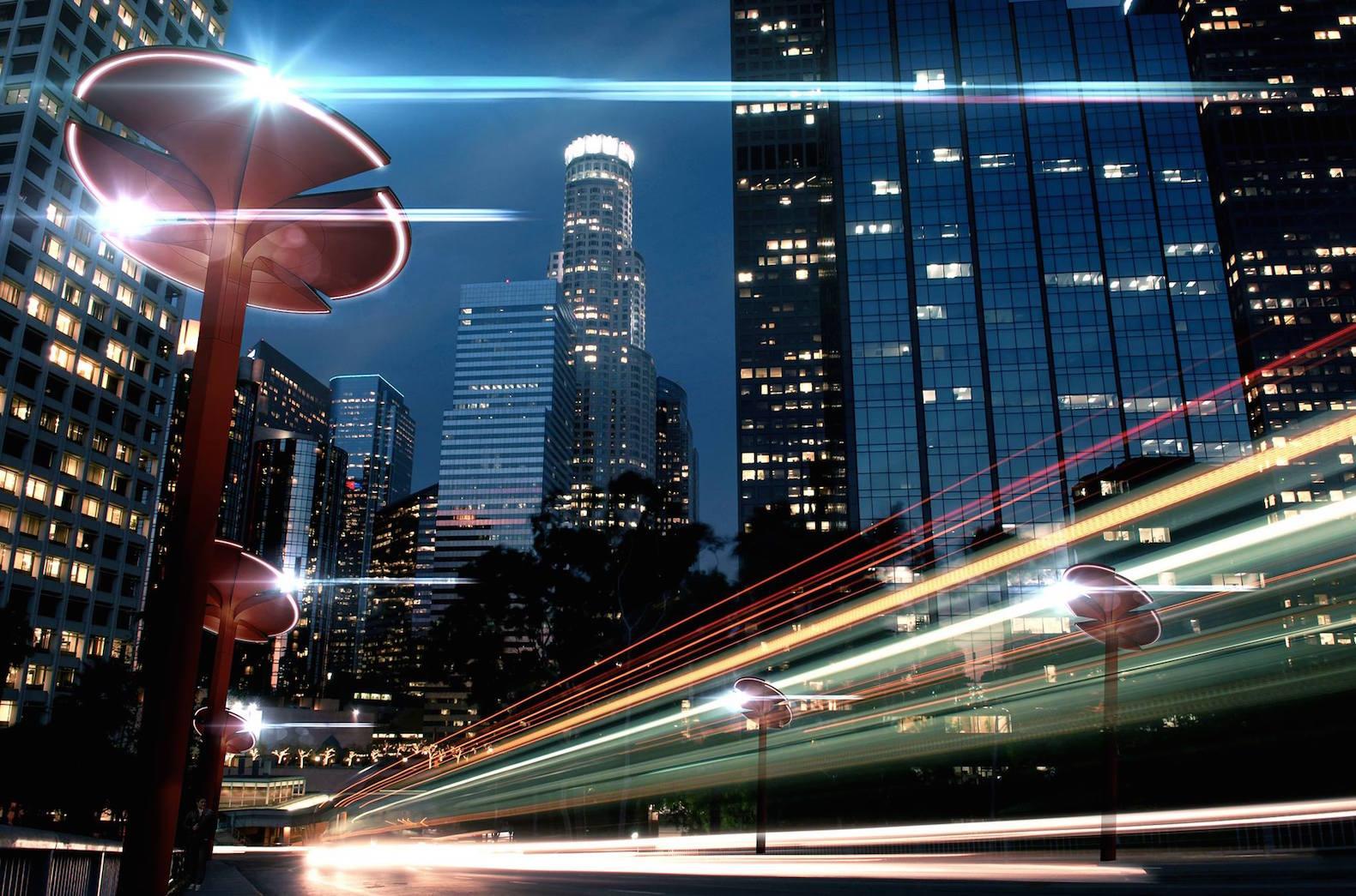 شهری هوشمند و پاک با چراغهای برق پیشرفته