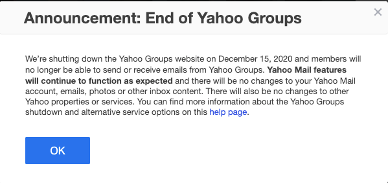 end of yahoo group
